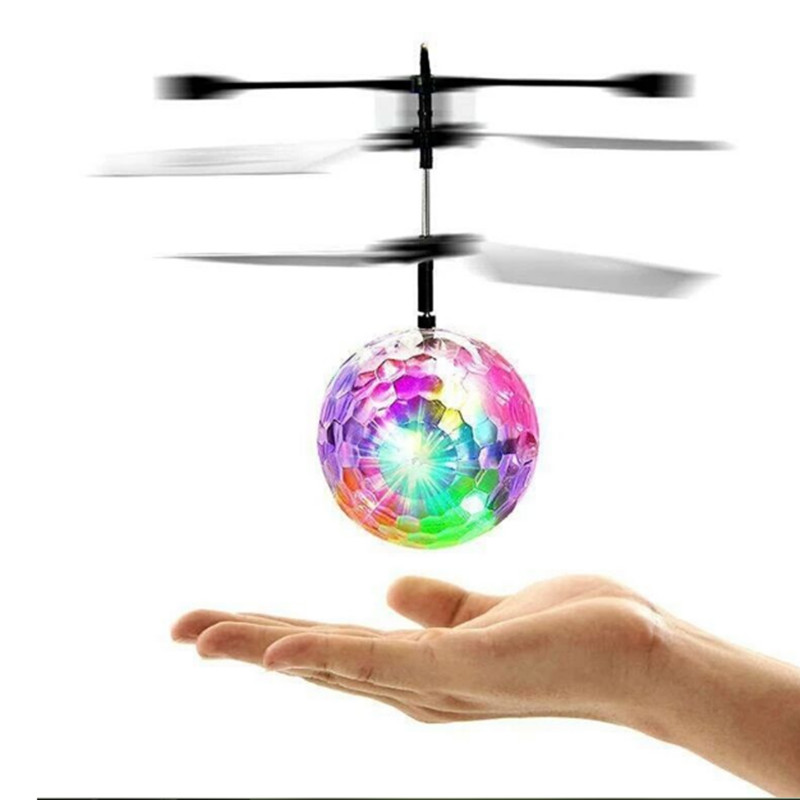 Christmas Kids Gift RC Flying Ball Helicopter Music LED  Infrared Induction Mini Drone Quadcopter Flying Toys For Children TSLM1