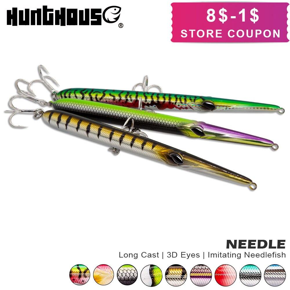 Hunthouse nadel stylo angeln locken lange casting bleistift stickbait schwimm & sinkende 205mm 31/36g skipping garfish sphyraena pesca
