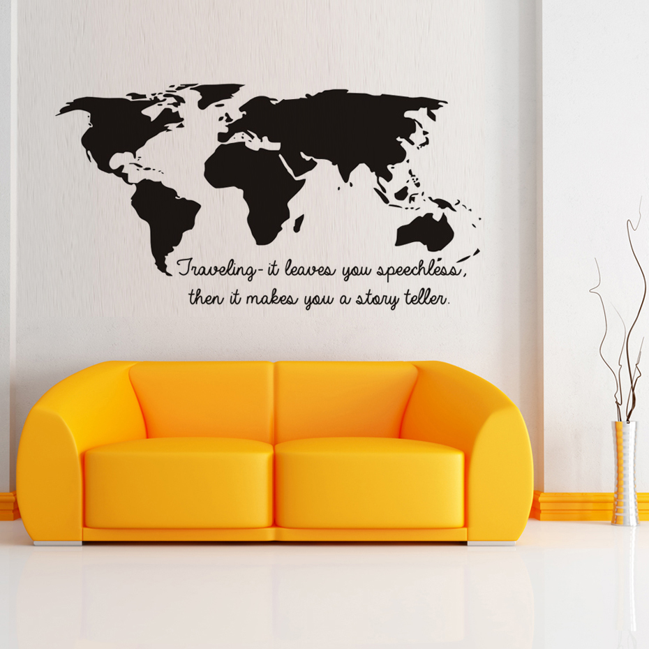 Black Traveling It Leaves You Speechless Quote World Map Wall <font><b>Sticker</b></font> Study Room Home <font><b>Office</b></font> Decoration Creative Pvc Decal Mural