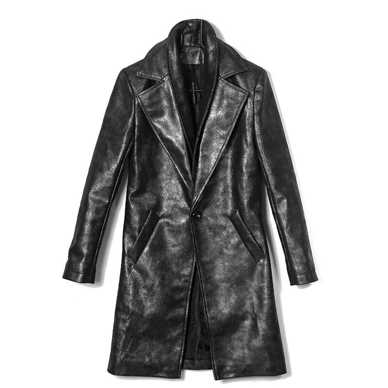 Старый с покрытием PU кожа ветровка личности прилив Для мужчин двойной воротник тонкий халаты пальто серебристо серый Для мужчин s Тренч кур