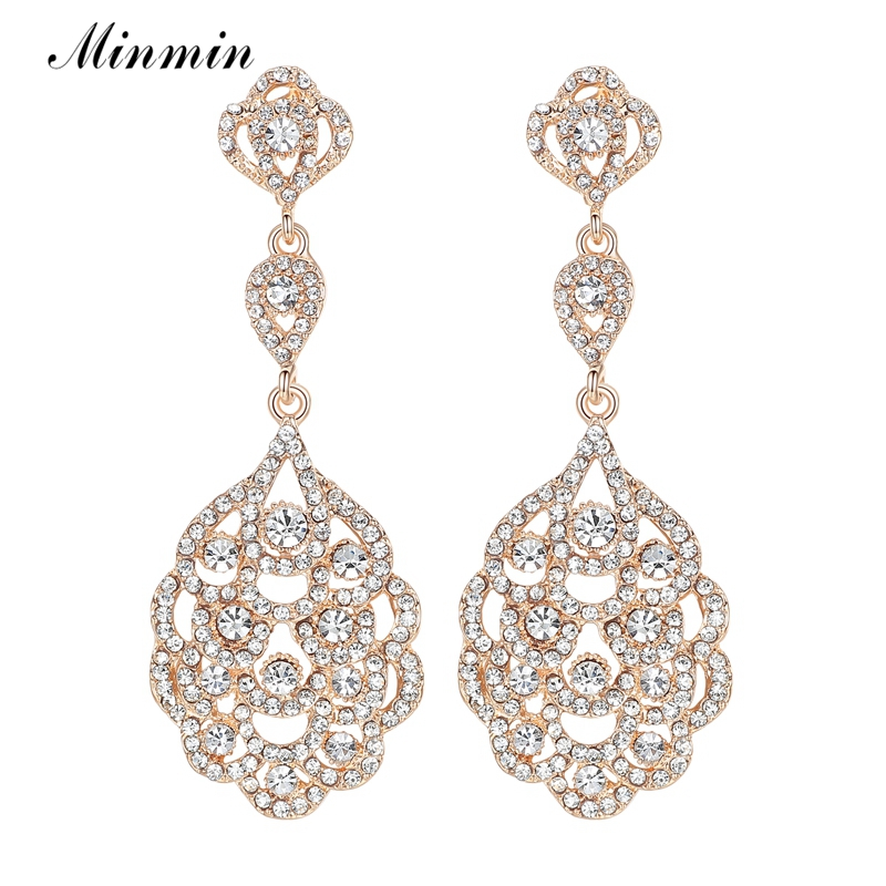 Minmin Crystal Long Earrings for Women Gold Color Party Hanging Earrings 2017 New Fashion Wedding Jewelry for Bridesmaid EH188