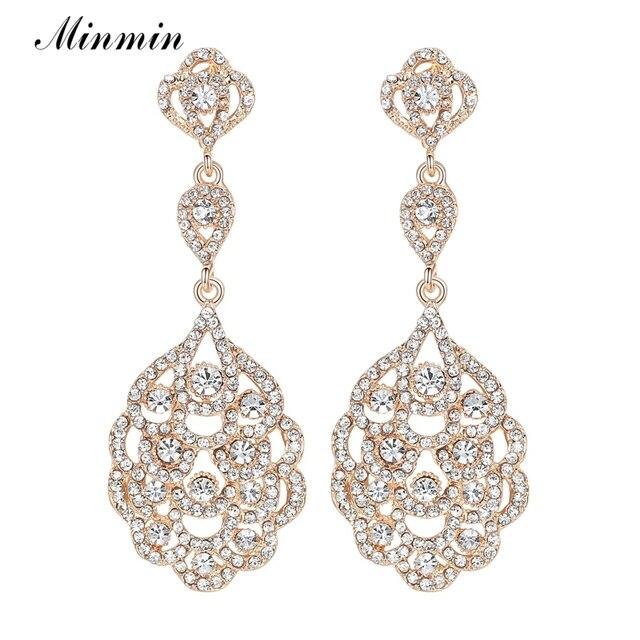 código promocional 402a9 957a4 € 3.38 25% de DESCUENTO|Pendientes largos de cristal Minmin para mujer  pendientes colgantes de fiesta de Color dorado 2019 joyería de boda de  nueva ...