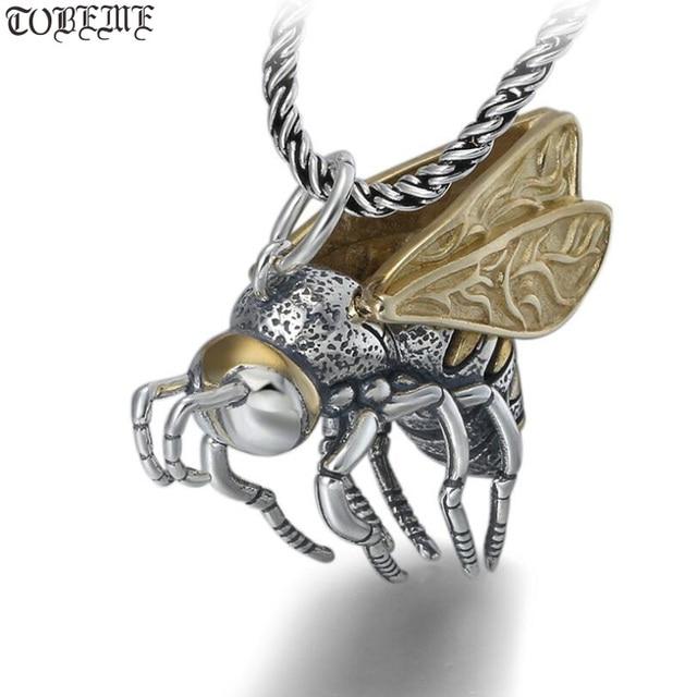Gerçek 925 gümüş arı kolye kolye 925 ayar meşgul arı kolye kolye Vintage Bohemia kolye