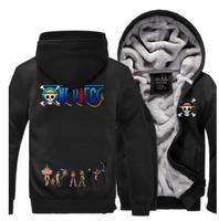 One Piece Monkey D Luffy law Anime Straw Hat Skull Cosplay Costume winter Hoodie thicken fleece jacket coat hoodies