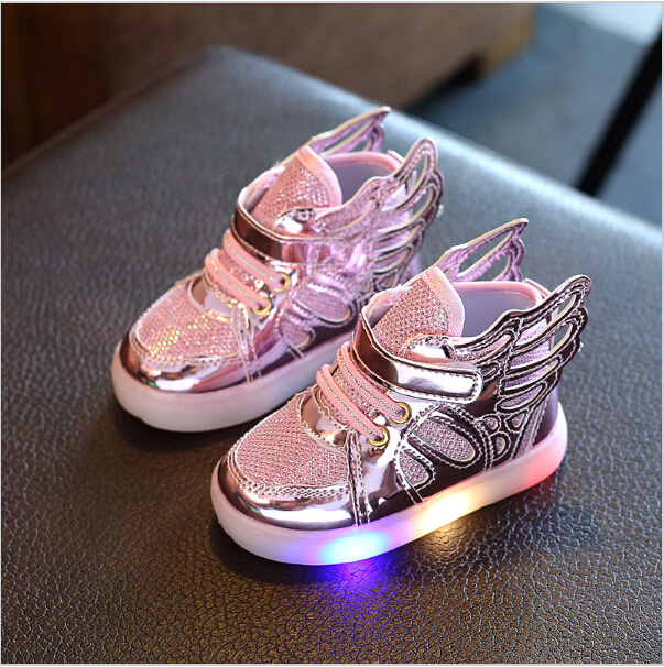Free Gift Girls Luminous LED Light Shoes Angel Wings Baby Boys Casual Led Shoes Children Sneakers size 21-30
