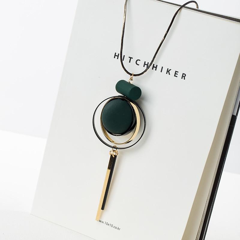 Rainbery Fashion Bohemian Geometric Wood Handmade Vintage Tassel Long Sweater Chain Necklace Fashion Women Jewelry Accessories
