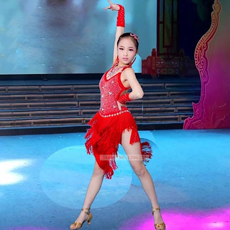 Latine Jupe Filles Haute Qualité Custom Made Profession Gland Rumba Costume Enfants Fringe Concurrence De Danse Latine Robe
