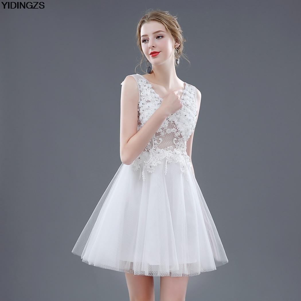 Yidingzs short wedding dress 2017 v neck flowers beaded for Short beaded wedding dress
