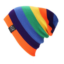 New Fashion Winter Hat for Women And Men Color Joint Knitted Wool woman hat casual Women Skullies Beanies Rainbow Hip-hop Hats