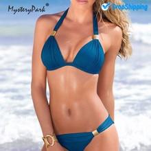 MysteryPark 2019 Swimwear Women Bikini 6 Color Push-up Bandeau Bra Bandage Swimsuit Bathing Suit Swimwear maillot de bain femme