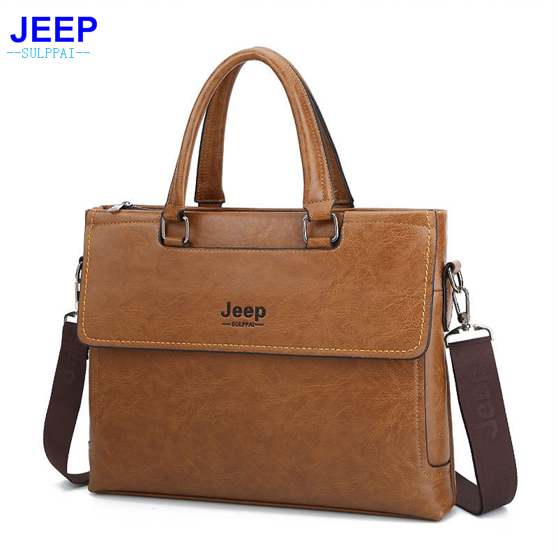 HENGSHENG Fashion leather men briefcase for business briefcase with top quality PU leather laptop briefcase of jeep briefcase