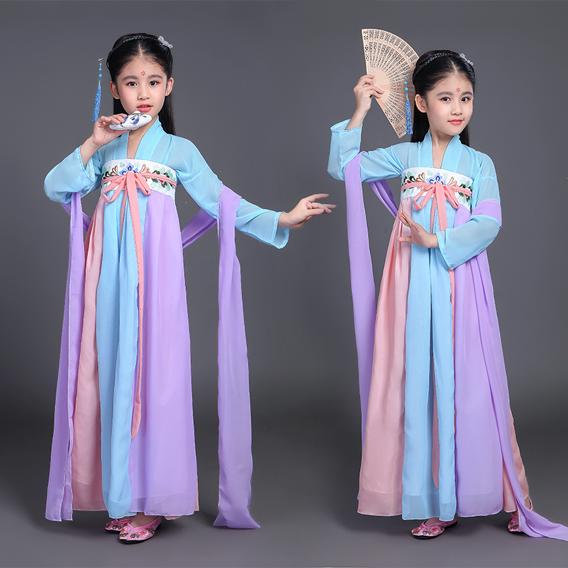 2018 autumn china hanfu dress christmas dance costumes for kids traditional chinese tang ancient costume classic children kids summer dresses styles chinese cheongsams for girls traditional chinese dress for children tang suit baby costumes