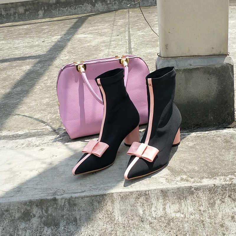 2018 Pembe Yay Streç yarım çizmeler Kadın Sivri Burun Tıknaz Yüksek Topuk Ayakkabı Kadın Şık Çorap