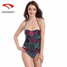 SWIMMART swimwear women fat MM large size gathering slimming beach spa triangle one-piece swimsuit plus swim suit