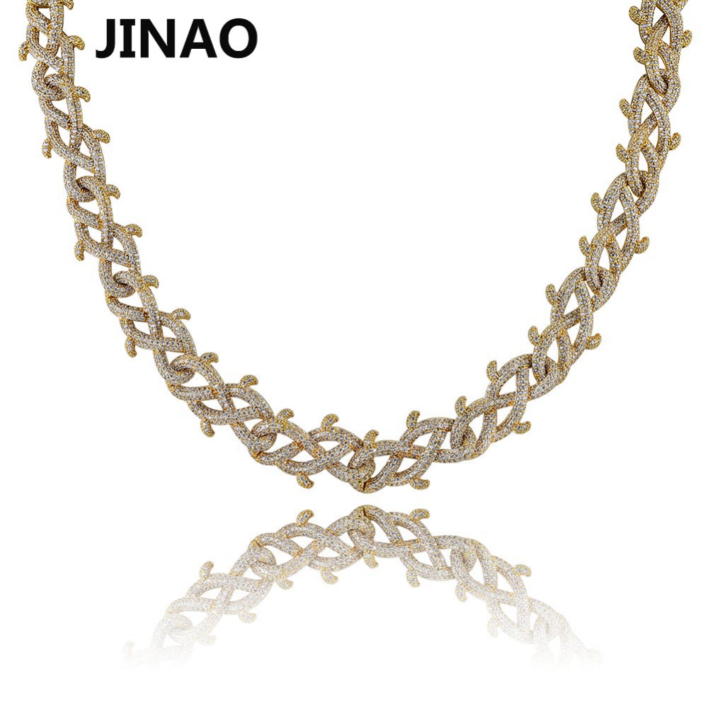 JINAO Hip Hop Jewelry Cuban Chain Iced Out Chain Bling Cubic Zircon brambles Necklace Man Women