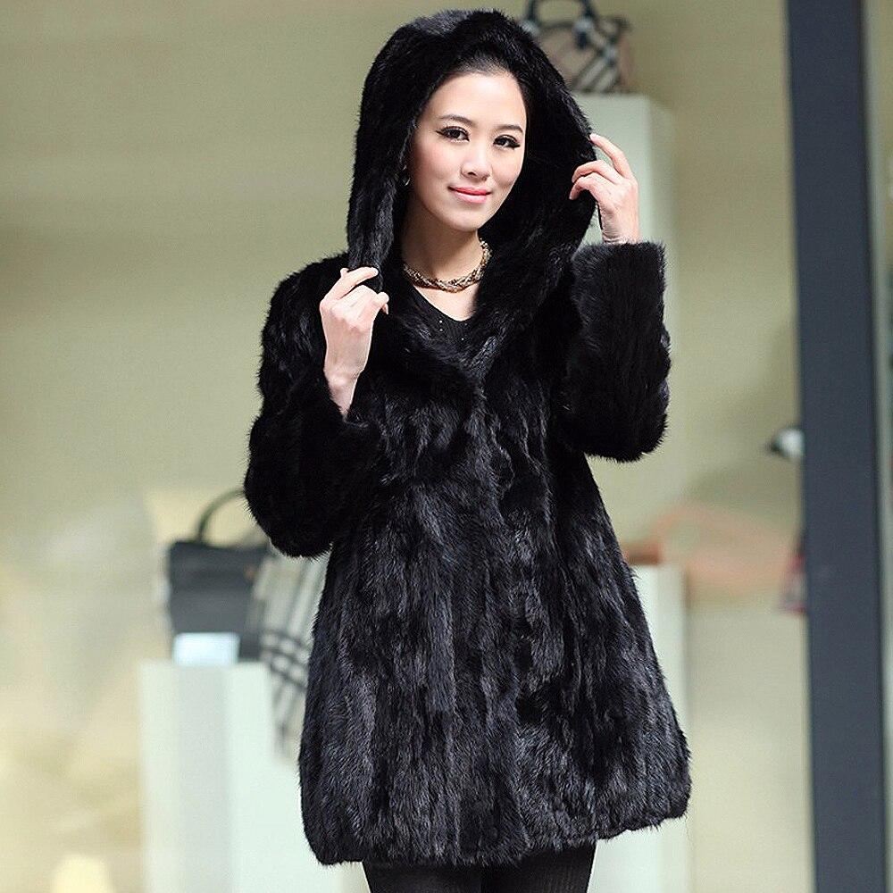 Naturel Capuche Avec Mode De Hiver Luxe Véritable Réel Black Veste Femmes Manteau Vison Pardessus Fourrure Bvqad