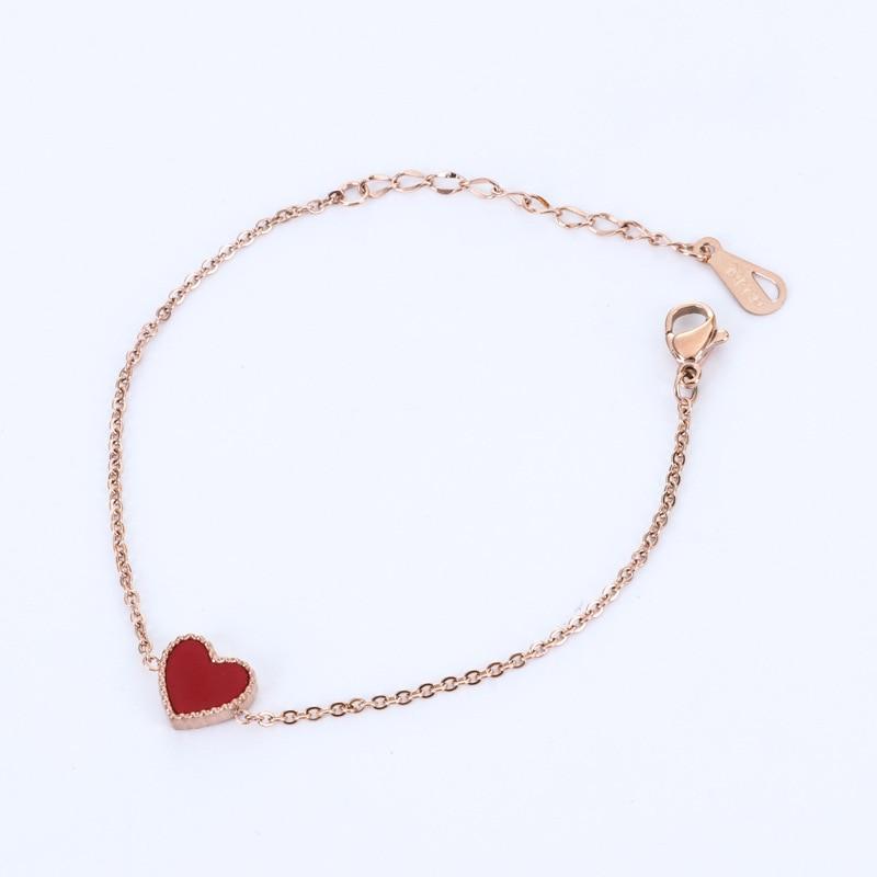 Rose gold color double sided red black heart bracelet femme pulseira feminina cute bracelets bangles for