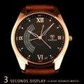 YAZOLE Marca 337 Mens 3 Segundos de Exibição Design Especial PU LEATHER Strap Relógio de Quartzo Masculino Clássico Negócios relógios de Pulso