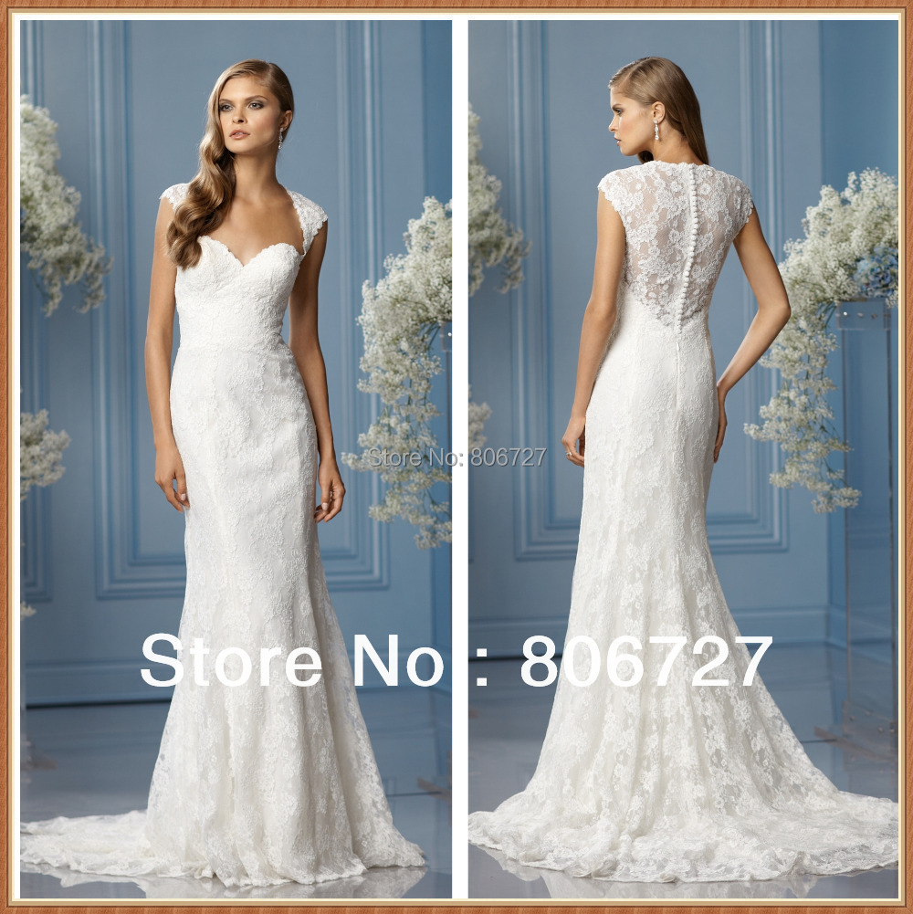 Elegant cap sleeve sweetheart neckline a line lace covered for Back necklace for wedding dress