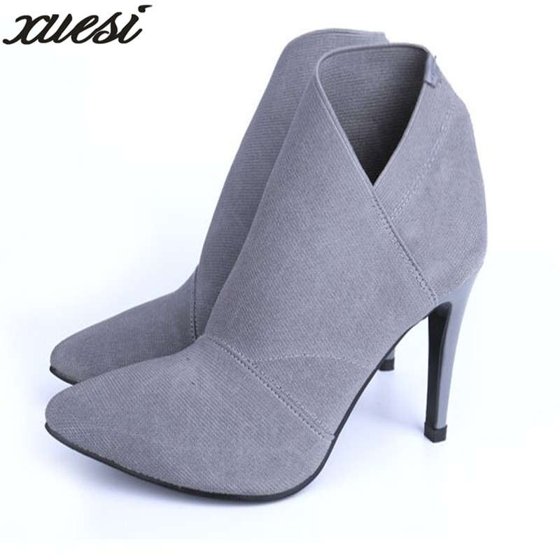 Hot Sale Europe And America Pointed Toe High-Heeled Women's Boots Autumn Winter Fitted Women FemaleBoots Ankle Boots For Women hot sale tassel pendant autumn winter reversible oversized batwing poncho cape shawl for women