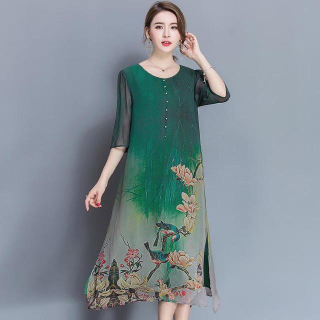 56d72e5843938 Sakazy Summer Plus Size Chinese Style Printed Midi Dress Women Elegant High  Quality Haut Party Dress Robe Vintage Dresses