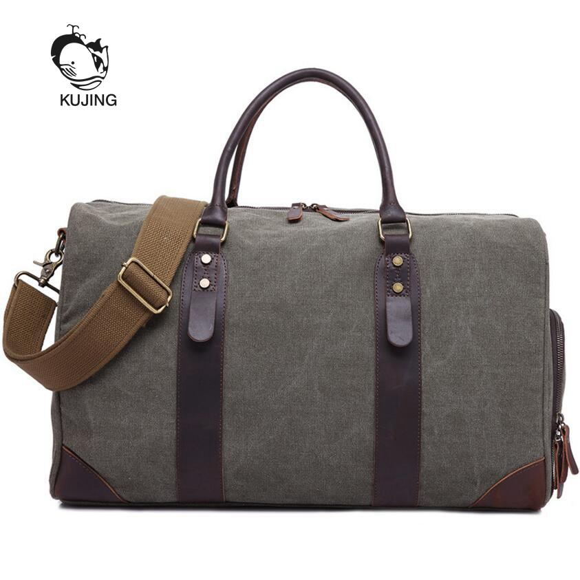 KUJING Canvas Men's Bag High Quality Cowboy Large Capacity Travel Men Handbag Retro Shoulder Messenger Bag Luxury Men Casual Bag personality retro men and women fashion large travel bag casual canvas handbag
