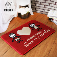 CIGI Special Red Floor Mats Wedding Doormat Hand In Hand Love Home Rectangle Carpet Bedroom Living Room Kitchen Anti Skid Mat