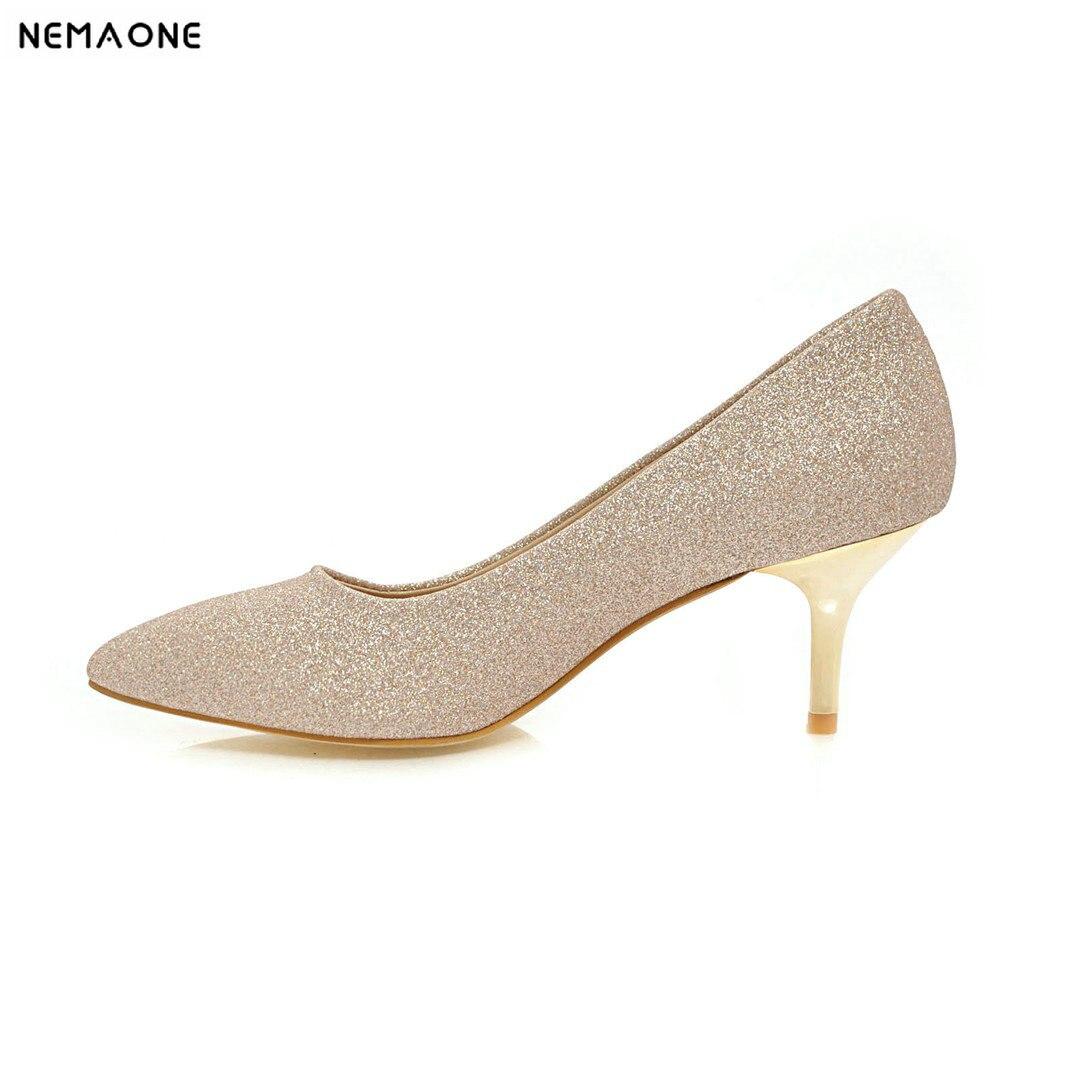 Chaussures Mode Nemaone argent Or Simples 2019 Couleur Brillant Talons Automne Bout Femme Haute Style De Travail Pointu Pompes gdfndr