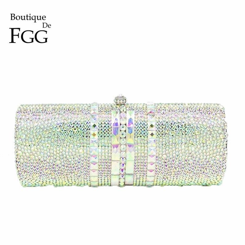 Boutique De FGG Luxury Women Silver Crystal AB Evening Bag Metal Minaudiere Clutch Handbag Wedding Party