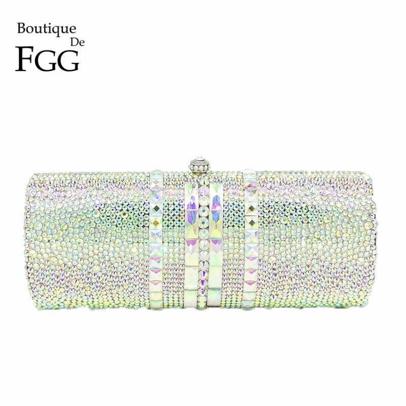 Boutique De FGG Luxury Women Silver Crystal AB Evening Bag Metal Minaudiere Clutch Handbag Wedding Party Cocktail Diamond Purse bling women silver crystal diamond evening clutch purse handbag wedding party cocktail purse minaudiere bag gold shoulder bags