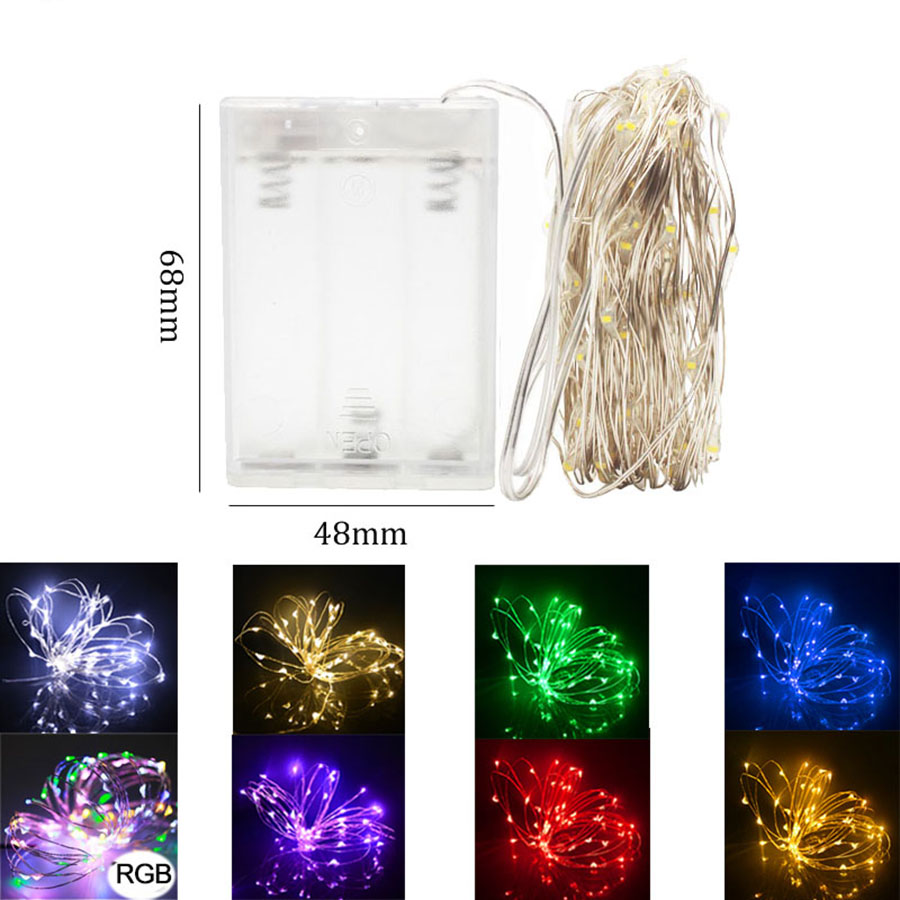 2M 3M 4M 5M 10M Battery Operated LED String Lights Xmas Garland Party Wedding Holiday Decoration Christmas Tree Lights RGB