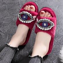 2018 Womens Fur Slippers Winter Shoes Big Size Home Slipper Plush Pantufa Women Indoor Warm Fluffy Terlik Cotton Shoe недорого