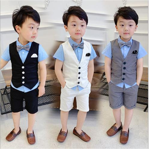 Summer Formal Boys Suits Blazers Clothes Suits For Wedding Formal Party Baby Vest Pants Kids Boy Outerwear