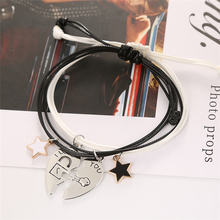 JIA&KOU 2pcs/pair Stitching Heart Bracelets For Lovers Perfect Gift Girl Friend Star Pendant Couple Bracelts Rope Chian