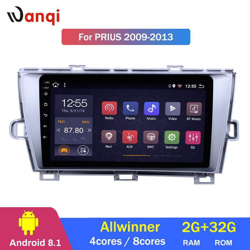 2G RAM 32G ROM 9 inch Android 8.1 GPS Navigation Radio for 2009-2013 Toyota Prius LHD with Bluetooth USB WIFI
