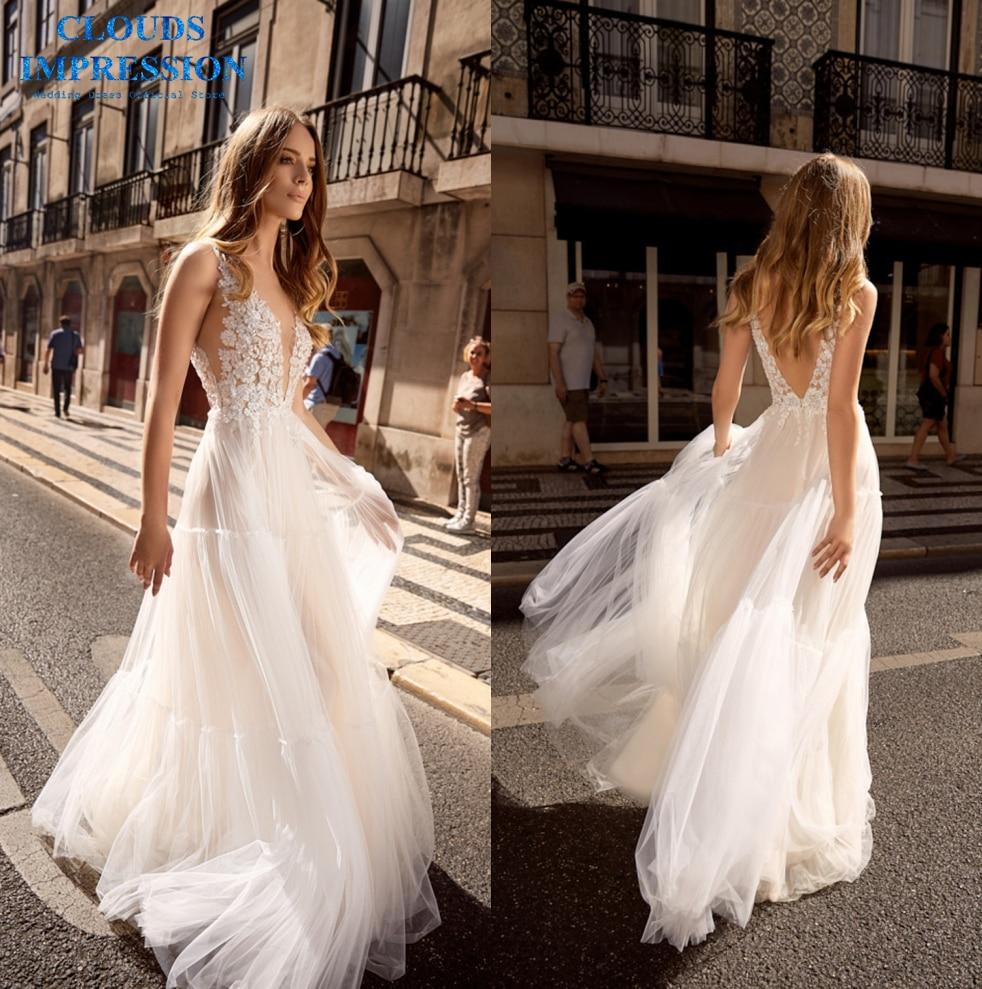 Romantic Lace 2019 V Neck Beach BOHO Wedding Dress A Line Tiered Vestige De Noiva Bride Tulle Dress