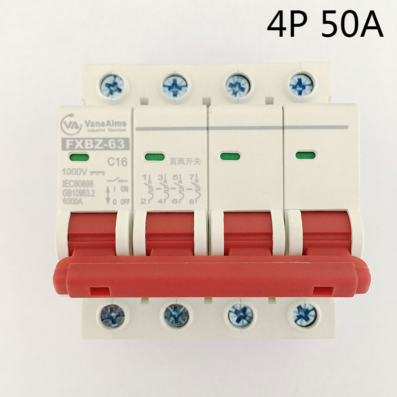 FXBZ-63 4P 50A DC 1000V Circuit breaker MCB 4 Poles C63 fxbz 63 4p 40a dc 1000v circuit breaker mcb 1 poles c63