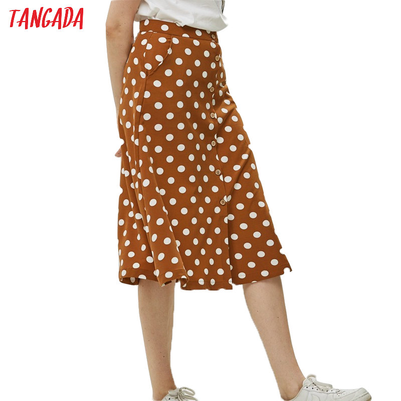 Tangada Vintage Polka Dot Print Skirt For Women Korea Fashion Ladies Midi Skirt Boho Pockets Button Skirts QJ26