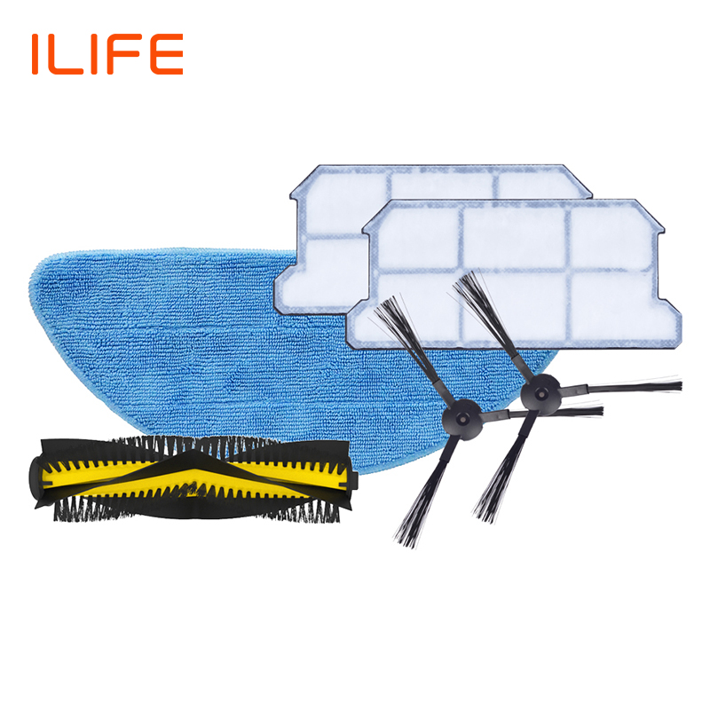 ILIFE  V7s Plus Spare Replacement Kits  Filter Mop Cloth Side BrushILIFE  V7s Plus Spare Replacement Kits  Filter Mop Cloth Side Brush