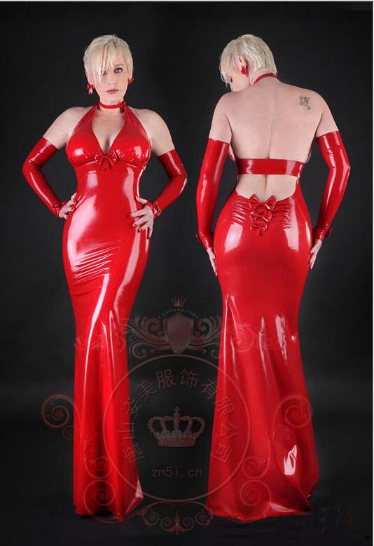 Latex naturel robe dos nu longue Sexy robe moulante