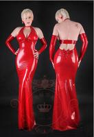 Natural Latex dress Backless Long Sexy dress Tight
