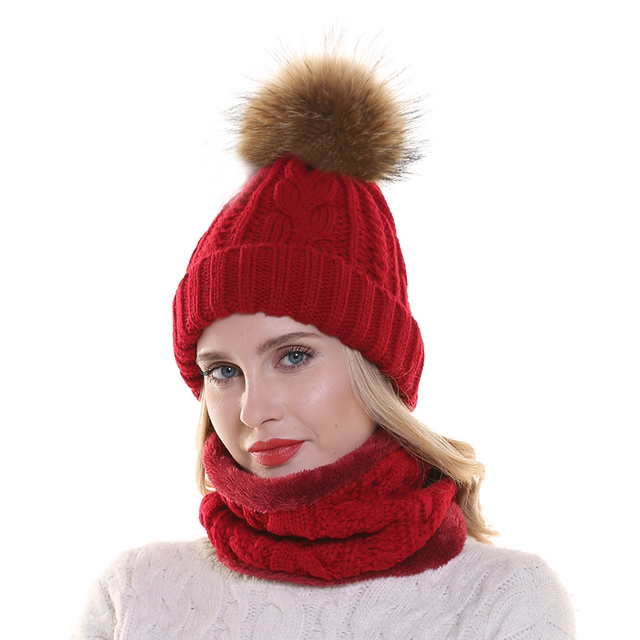2019 Womens Hats With Scarf Warm Fleece Inside Beanie Girls Winter Cap For Women Real Mink Fur Pompom Hat Female Knitted Caps 1