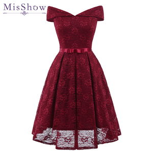 New Sexy Short Evening Dress Lace Wine Red pink A-line Party Formal Dress Homecoming Graduation Dresses with sash Robe De Soiree(China)