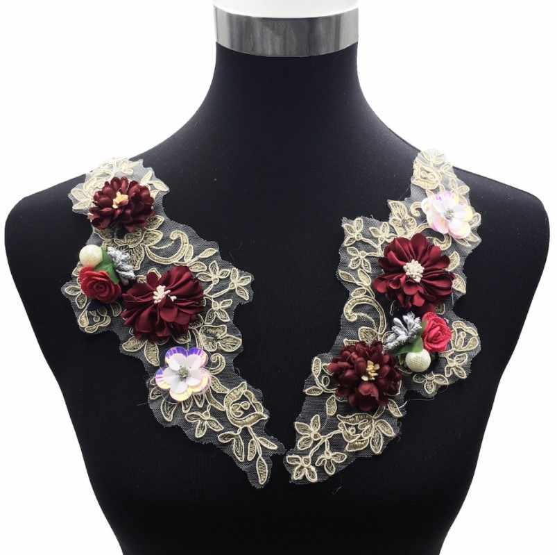 Anggur Merah 3D Bunga Mutiara Manik-manik Renda Kain Bordiran Pernikahan Gaun DIY Renda Kerah Leher Jahit Bordir Patch Kostum