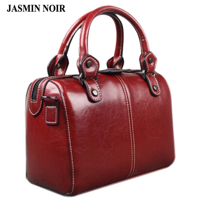 Real Cow Leather Ladies Women Genuine Leather Handbag Shoulder Bag High Quality Designer Luxury Brand Boston Crossbody Bag