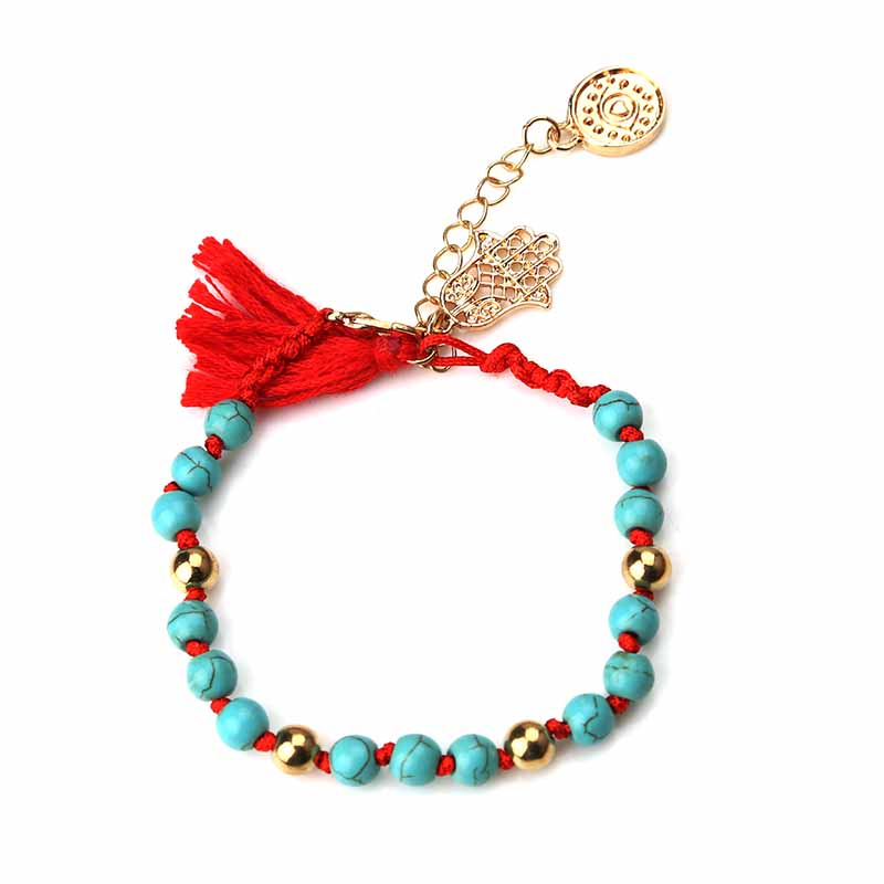 Hot Sale Vintage style Blue Stone Bead red black ribbon tassel with hamsa evil eye charm bead bracelet