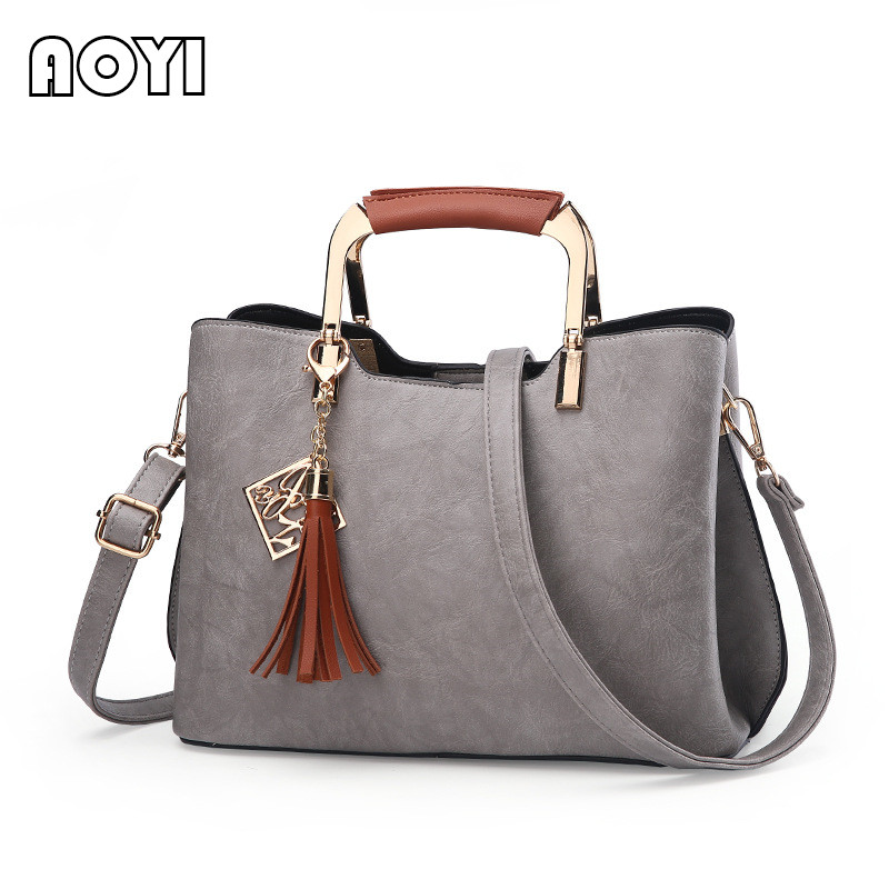 AOYI PU Leather Women Handbag Fashion Vintage Female Shoulder Bag Lady Famous Brand Crossbody Bag Tassel Decor Solid Casual Tote women messenger bag solid tassel vintage handbag pu leather for teenage girls shoulder crossbody bags black female 2017 xa1125h
