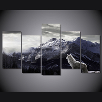 HD canvas wall artist house decoration picture 5 picture frame poster plateau mountain snow wolf spray painting frameless