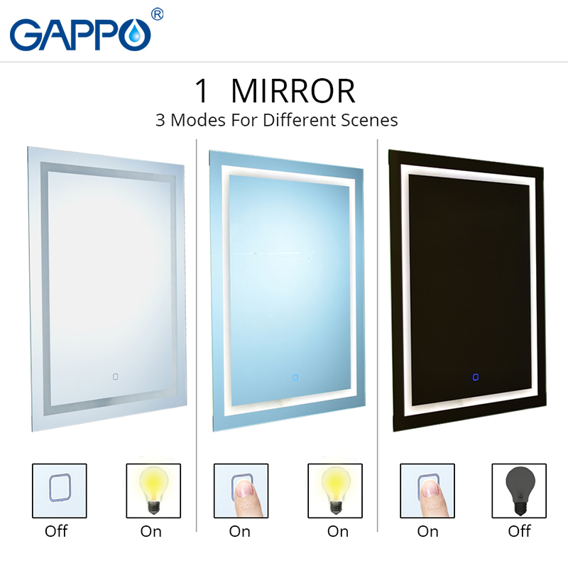 Gappo Bath Mirrors Led cosmetic mirror wall mounted lights bathroom makeup mirrors rectangle touch switch light adjustable 3