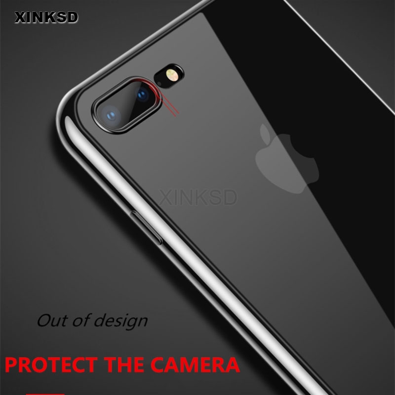 Transparent Thin TPU Cover Case for iPhone X 7 8 Soft Protection Back cover Luxury Plating Silicone Case for iPhone 7 8 Plus X15